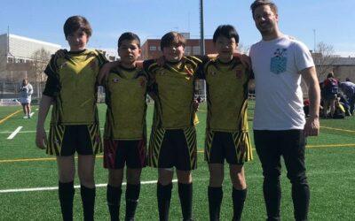 Cuatro jugadores de la Escuela Robher Asesores León Rugby Club, con la Selección Sub-14 de Castilla y León