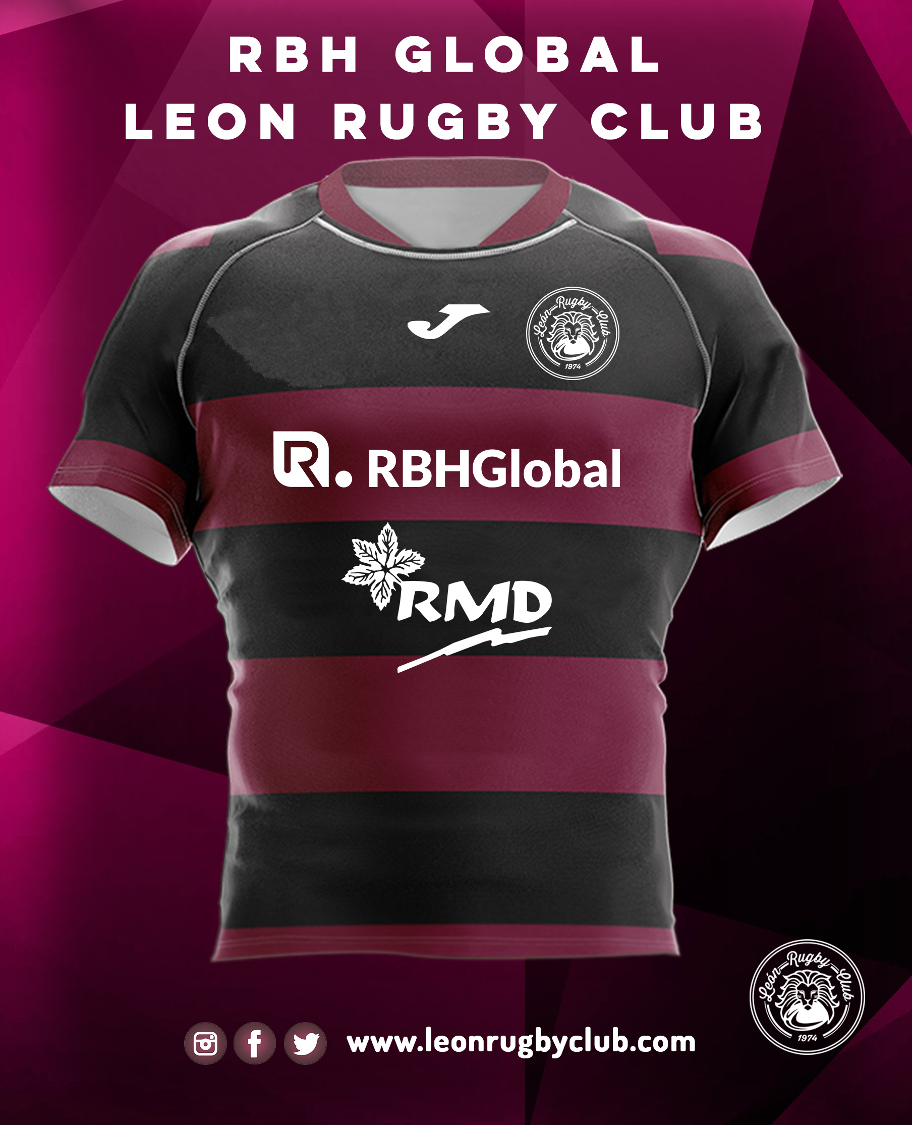 Camiseta de rugby reversible RBH León Rugby Club 19-20