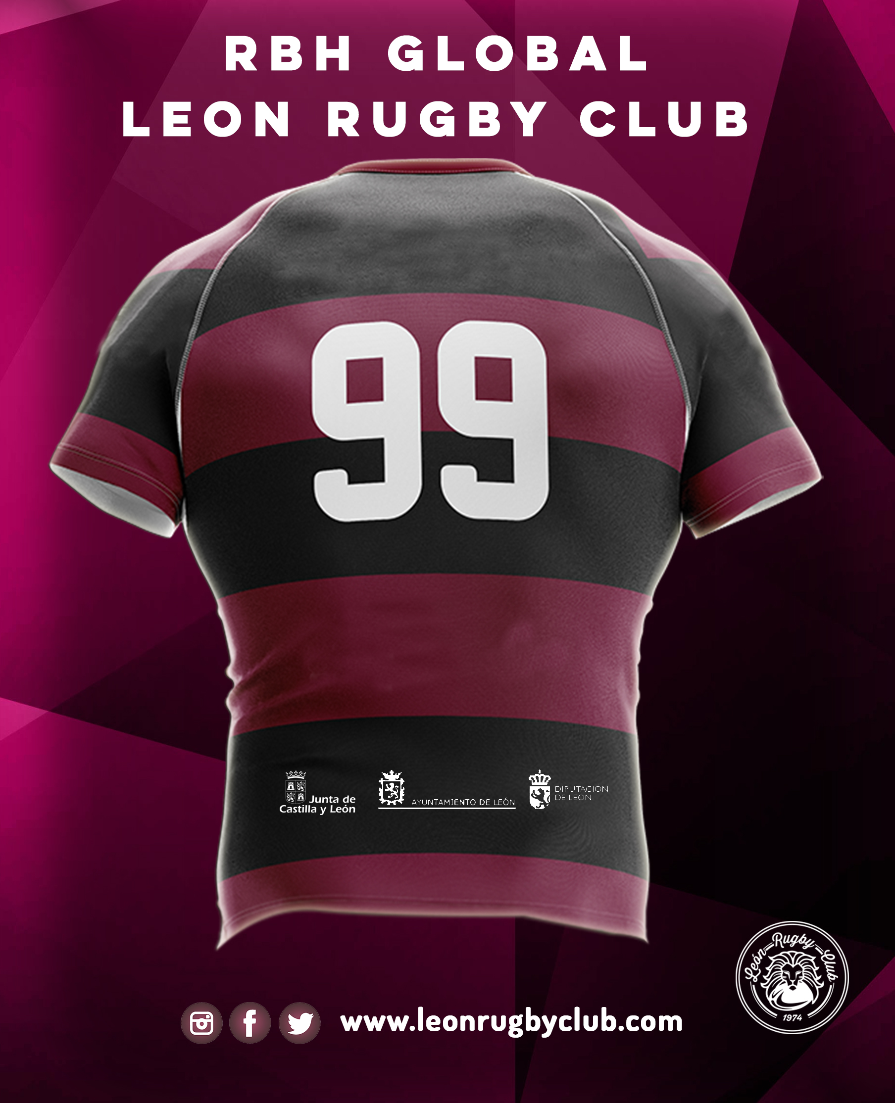 Camiseta de rugby reversible RBH León Rugby Club 19-20 2