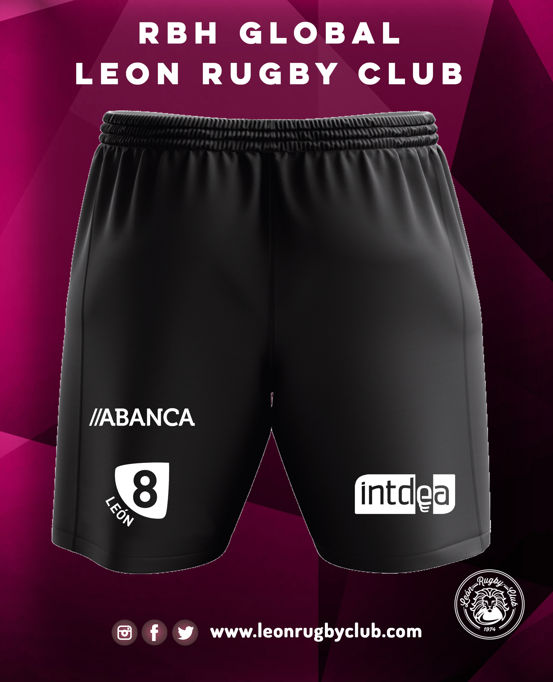 Pantalón negro corto de Rugby RBH Global León Rugby Club 19-20 2