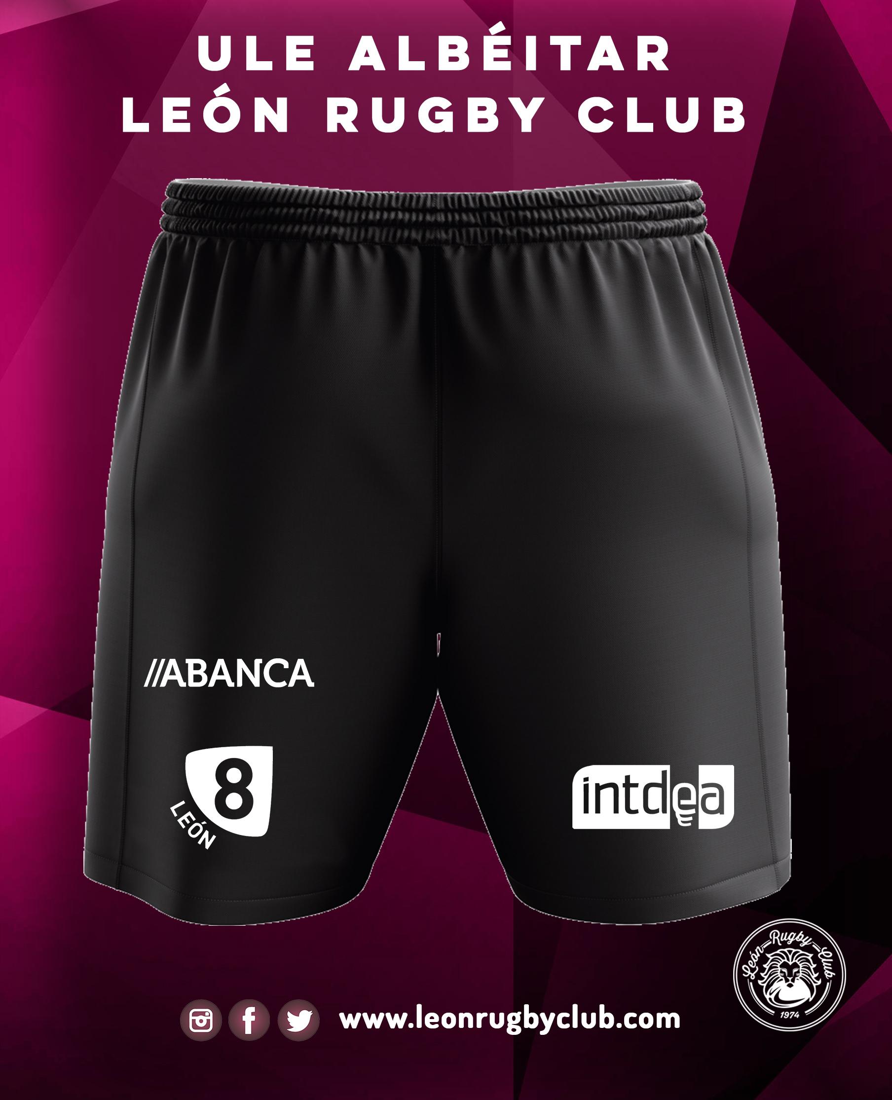 Pantalón de rugby negro corto ULE Albéitar León Rugby Club 19-20 Trasera